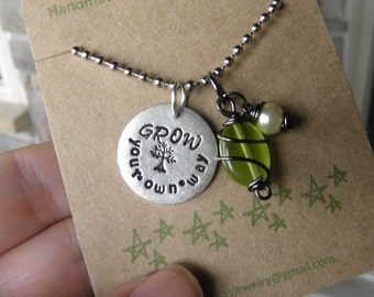 Tree Necklace, Grow your own way quote, Daughter Necklace