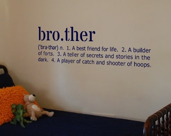 """Brother Definition Vinyl Wall Art Decal 10"""" x 29"""""""