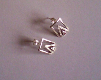 sterling silver mod drop earrings