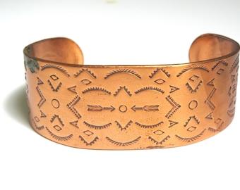 Vintage Copper Cuff Bracelet Native American Stamped Symbols Cuff - Wide Bracelet - Bow, Arrow Design