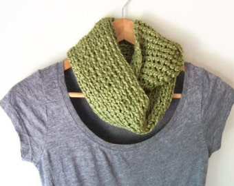 Green Infinity Scarf .. Organic Cotton .. Olive Green Scarf .. Eco Clothing .. Vegan Scarf .. Organic Clothing Women