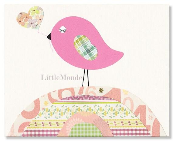 Pink Nursery Prints, Baby Girl Nursery Art,  Nursery Prints, Hot Pink, Bird, Art For Kids, Baby Girl Room Decor, Nursery Decor, Fuchsia