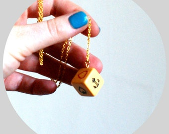 Vintage Crown and Anchor Dice Upcycled Necklace