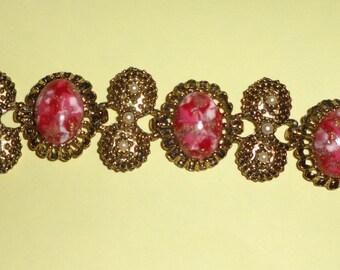 Vintage red swirl CONFETTI bracelet