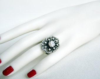 art deco clear crystal rhinestone tibetan silver plated adjustable ring wedding jewelry bridal jewelry bridesmaid gifts bridesmaid jewelry