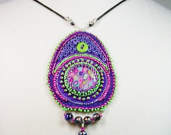 Bead Embroidered Necklace,  Seed Bead Necklace, Beaded Necklace, Embroidered Necklace