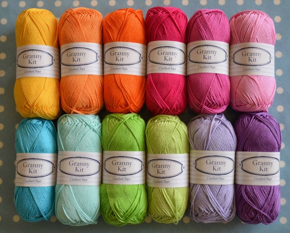 100% Cotton Yarns 12 colours Granny Kit Ready to ship by