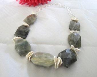ON SALE!! Labradorite Stone Necklace