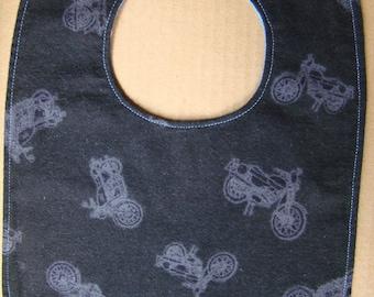 Biker Baby Bib / Motorcycle print baby bib / Reversible bib
