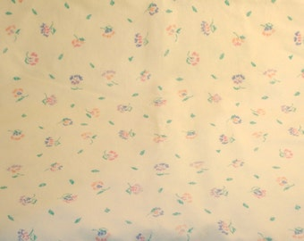 Brushed Cotton-Blend Fabric - Pale Yellow with Small Flowers, Purple, Blue, Pink & Green Leaves- DESTASH Piece 30x58 selvage to selvage