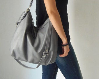 Grey leather  bag -  Leather hobo bag - Soft leather bag - Laptop bag - LARGE HELEN bag