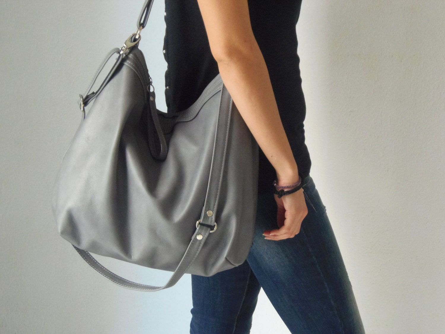 Grey leather bag Leather hobo bag Soft leather bag