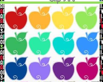 Colorful Doodle Apples: Digital Clip Art / Graphics