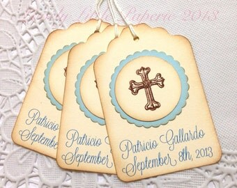 Christening Tags - Vintage Style Baptism Favor Tags