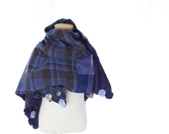 reversible cotton stole -purple and brown check-
