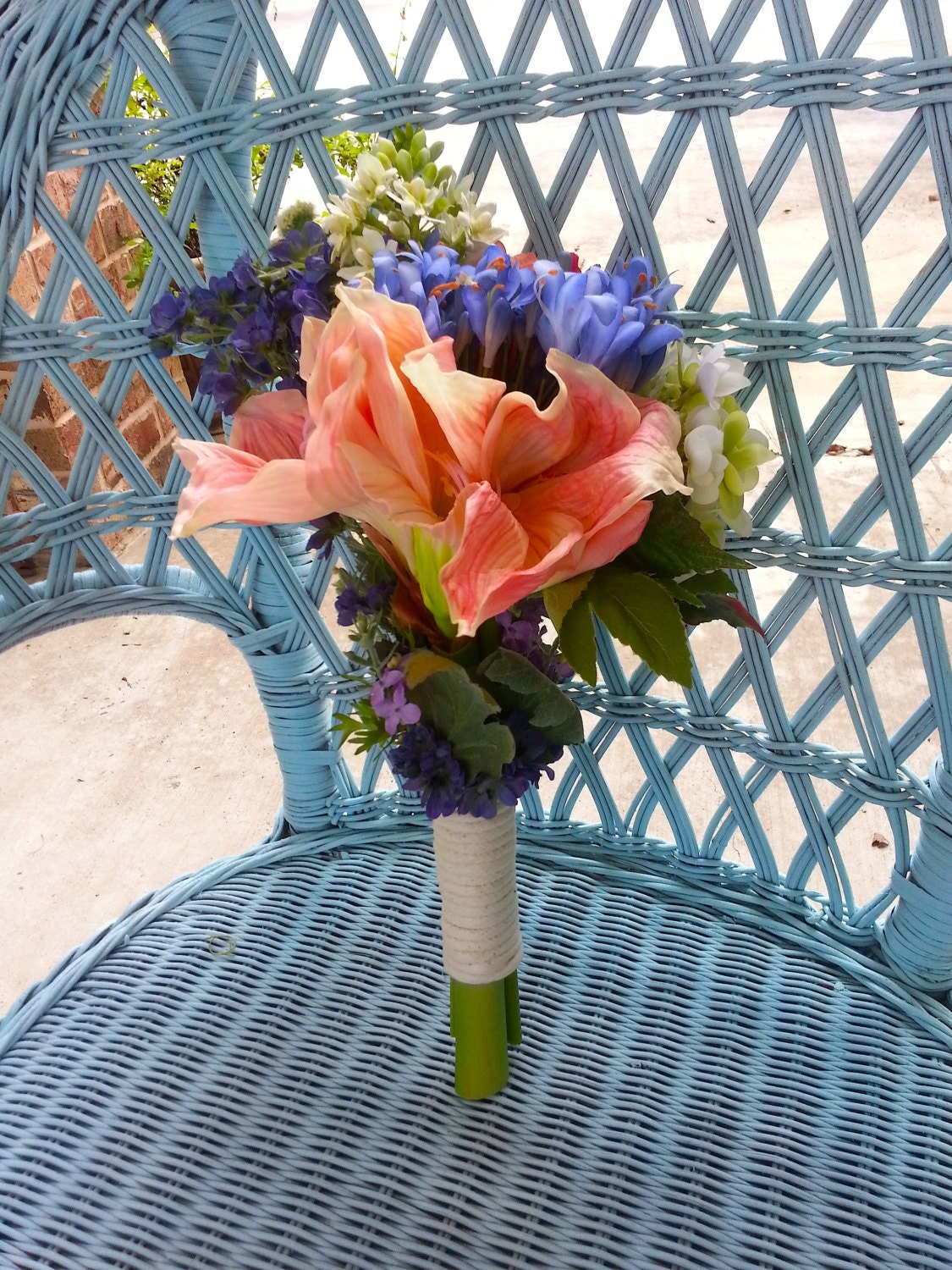 Nautical Coral Navy Periwinkle Bridesmaid Bouquet