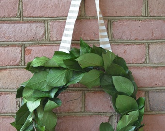 Natural Home Decor, Preserved Salal Wreath, Dried Wreath, Preserved Wreath, Grapevine Wreath