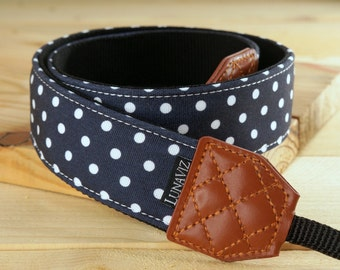 Personalize Camera Strap - Polka Dot for DSLR and Mirrorless (Navy Blue)