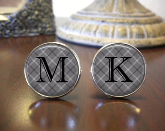 SALE! Groomsman Cufflinks - Wedding Cufflinks - Personalized Cuff Links - Initials - Gray Plaid
