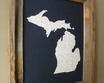 Michigan In A Nutshell Word Art Map Print (Dark Blue) - Unframed