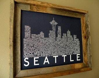 Seattle Skyline Word Art Print (Dark Blue) - Unframed