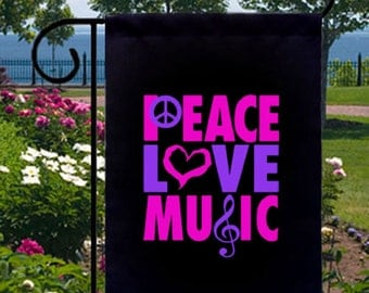 Neon Peace Love Music New Small Garden Yard Flag, Retro Cool