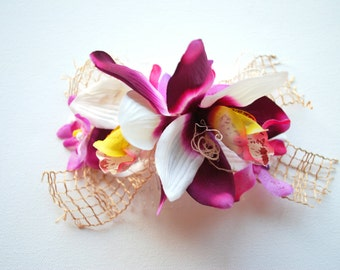 Purple Pink White Exotic Orchids Comb, Double Orchid Bridal Hair Comb, Mermaid Orchid Headpiece, Beach Hawaiian Weddings Hair Accessories