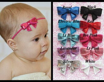 You Pick 1- Baby Headband, Infant Headband, Toddler Headband, Sequin Bow Headband on skinny elastic