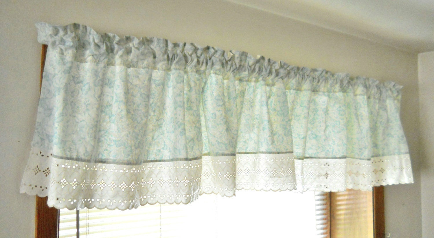 cottage chic valance shabby chic valance seafoam green sea