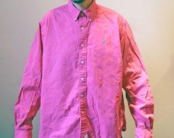 Pink Vintage 1990s Size XL Ralph Lauren Button Up Shirt