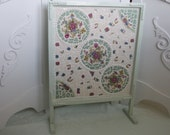 Romantic Cottage Fireplace Screen with Belleek China Mosaic