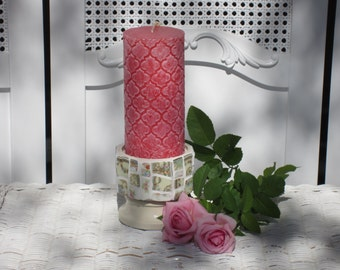 Romantic Cottage Octagonal Candle Holder with Antique China Mosaic