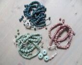 Indonesian Glass Beads Destash Lot Striped Blue Pink Teal