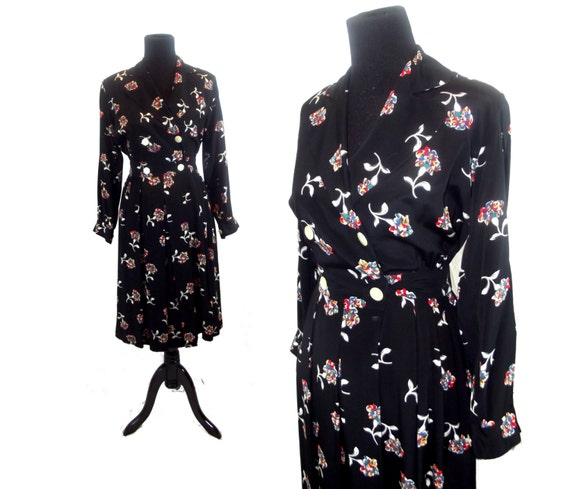 OPAL Vintage 80s Liz Claiborne Floral Filigree Print Double-Breasted Wrap Dress Sz M (8)