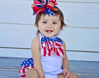 Fourth of July/Patriotic/ Red White and Blue Baby Sun Romper /First 4th of July/Pageant/CakeSmash /Red White Cute outfit/Newborn 4th of july