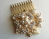 Pearl bridal comb, Gold hair Comb, Pearl headpiece, winter wedding, leaves foliage crystal rhinestone hair accessories pearl GOLD LEAF