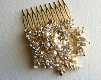 Gold hair Comb, winter wedding, wedding hair comb, vintage bridal comb, leaves foliage, crystal rhinestone hair accessories pearl GOLD LEAF