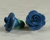 Dainty Flowers pair - polymer clay bead pair - dusty blue