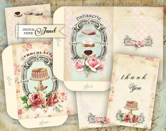 Patisserie Envelopes - digital collage sheet - set of 2 sheet - Printable Download