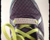 Hand-Stamped Shoelace Plate for Running or Fitness Motivation - Shoe Plate - Shoe Bling - Shoelace Charm - Runner Gift - Personalized