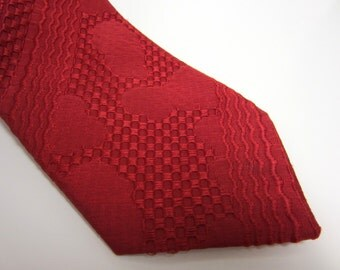 1960s Red Necktie - textured geometric pattern - checkerboard, wave, cloud shapes - vegan