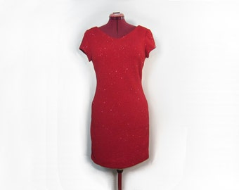 1990s Sparkling Ruby Red Glitter Dress with V Neck and Short Sleeves - Size 10 - David Warren New York