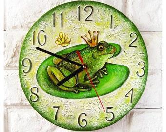 The Princess Frog Wall Clock, Home Decor for Children Baby Kid Boy Girl Nursery Playroom, wood clock, white home decor, kids gift.