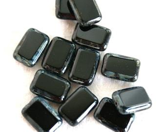6 Picasso Jet Black Rectangular Window Beads