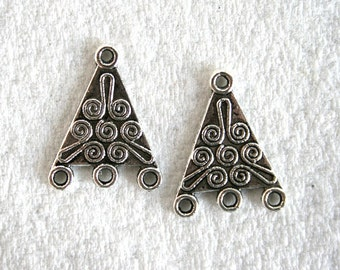 4 Antique Silver 1 to 3 Triangular Earring Links/Connectors