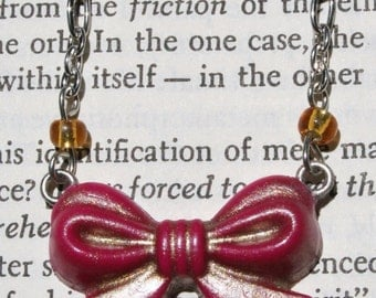 Pink and Gold Mini Bow Necklace