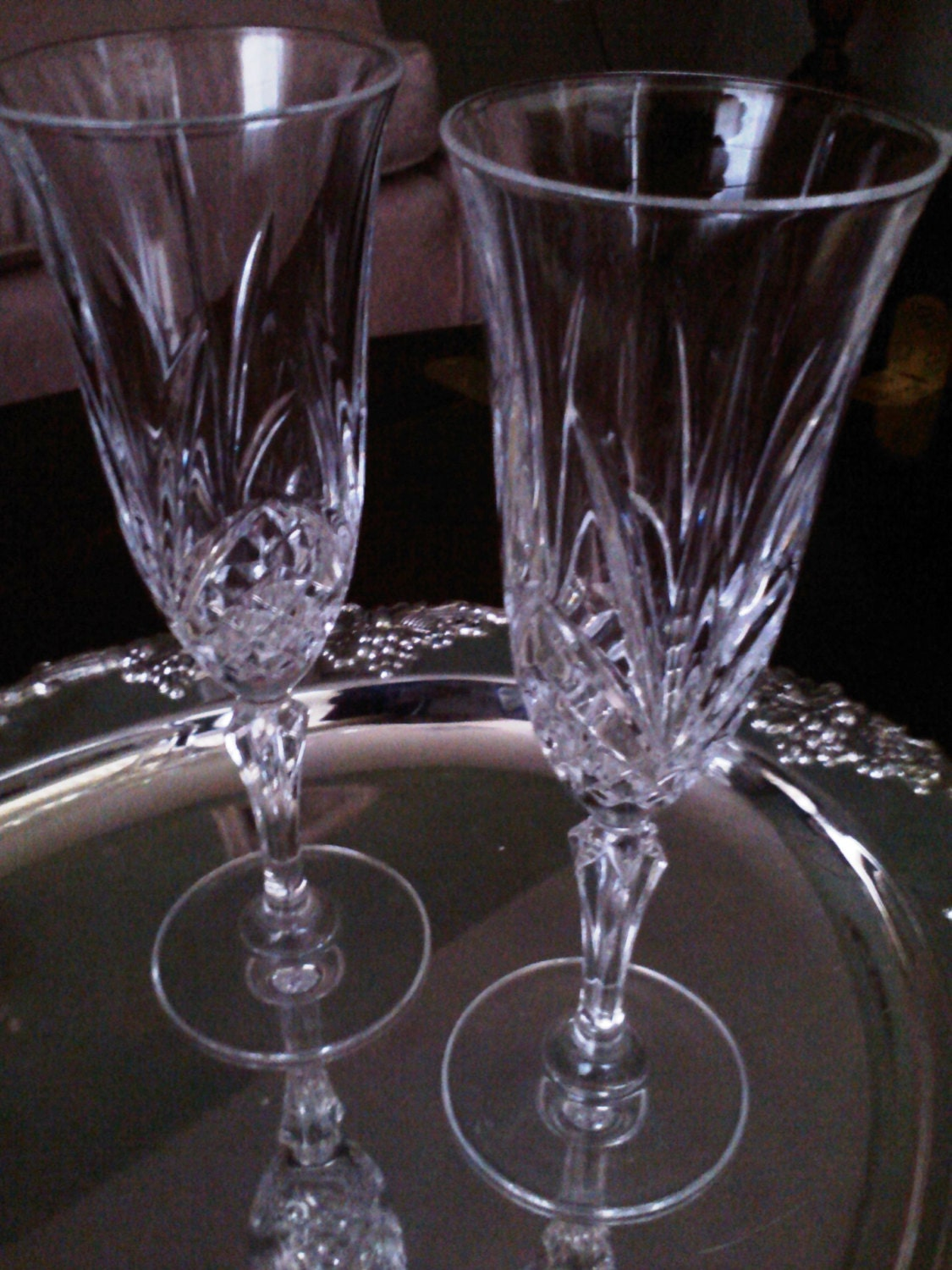 Crystal champagne flutes two vintage toasting glasses - Fluted wine glasses ...