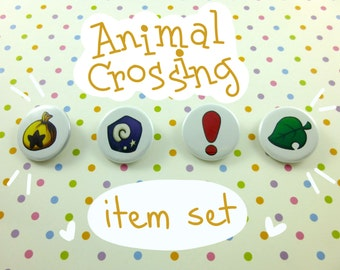 "Animal Crossing Buttons - Animal Crossing New Leaf Items - 1.25"" Button Set"