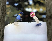 Snowboarding ~ Enjoying the Pow  ~ Blank photo card featuring our Brick collection