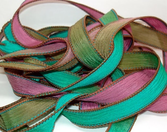 "Cayman Isle 42"" hand dyed silk wrist wrap bracelet  ribbon//Yoga wrist wrap bracelet ribbons//Silk wrist wrap ribbon// By Color Kissed Silk"